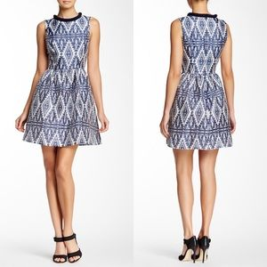 Jessica Simpson Aztec Parisian Blue Print Dress